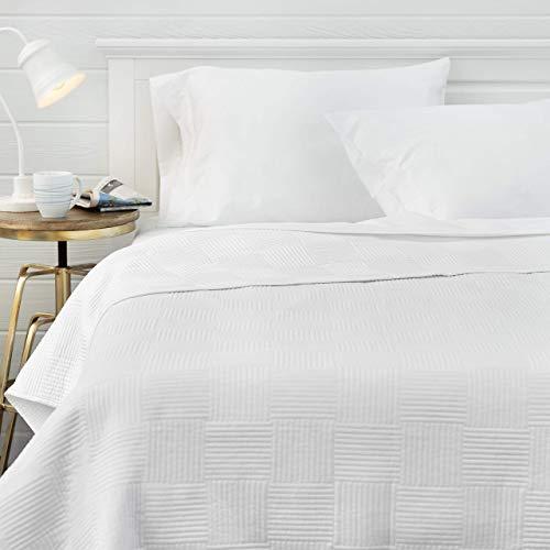 Welhome Preston 100% Cotton Sateen Reversible Oversize Quilt – Full/Queen Size – 96″ x 96″ – Smooth & Soft – Lightweight – Hypoallergenic – All Season – White