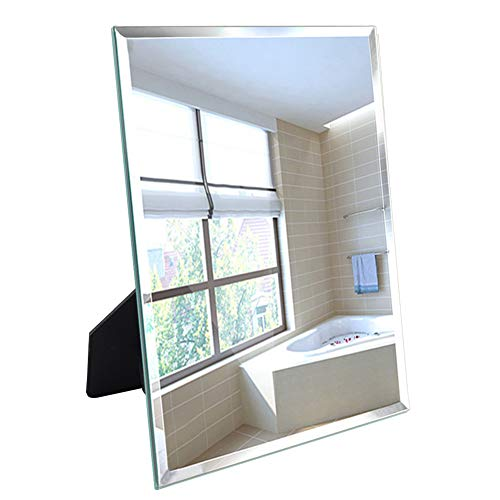 Calenzana Frameless Mirror Wall Hanging and Desk Standing, Compatible with Makeup Vanity Mirrors,10.6x13 inch