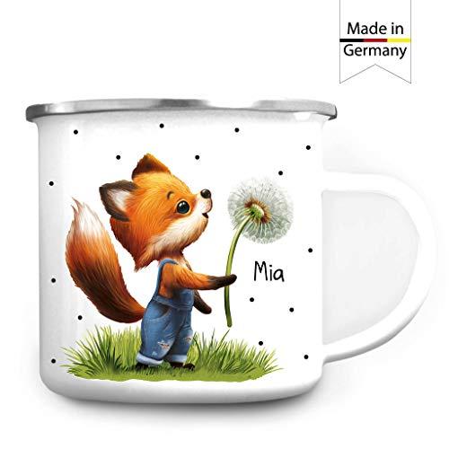 Wandtattoo Loft Emaille Campingbecher Fuchs Pusteblume personalisiert mit Wunschnamen Kaffeebecher Tasse/silberner Becherrand