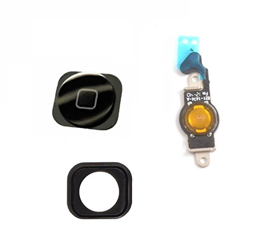2en 1para iPhone 5Home Button Botón con goma + Flex Negro