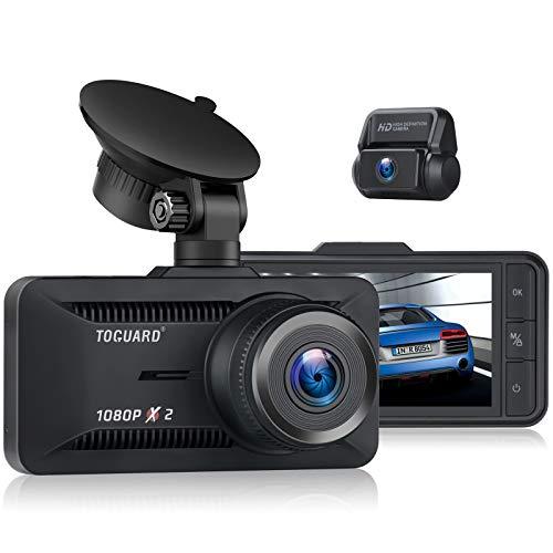 Toguard Dashcam Auto Vorne Hinten 1080P Full HD, Dual Autokamera 3 Zoll Bildschirm 170° Weitwinkel, Superkondensator, G-Sensor, 24 Std. Parkmonitor, Dash Cam Loop-Aufnahme, GPS und 128GB Ünterstützt