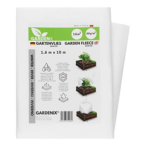 GARDENIX® 16 m² Wintervlies für Pflanzen 50g/m² ‒ Winterschutz - Hohe UV-Stabilisierung reißfest und wasserdurchlässig (1,6m x 10m)