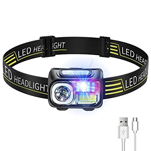 Linterna Frontal LED Recargable, Deerfun Headlamp Faros Delanteros Superbrillantes a Prueba de Agua 9 Modos con Sensor para Correr, Acampar, Excursión, Pesca, Ciclismo