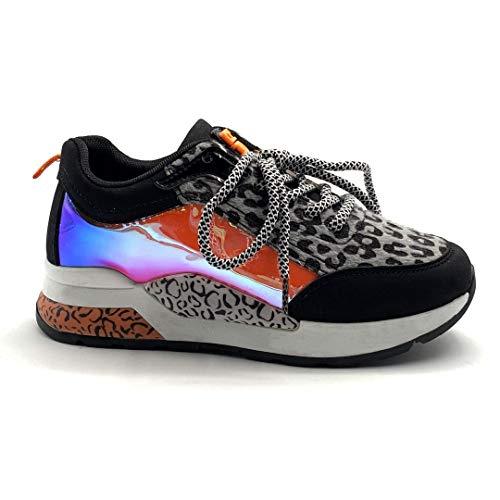 Angkorly - Damen Schuhe Sneaker Keilabsatz - Tennis - Plateauschuhe - große Sohle - geladen - Leopardenmuster - holografischer Effekt Keilabsatz 4.5 cm - Grau PQ-37 T 37