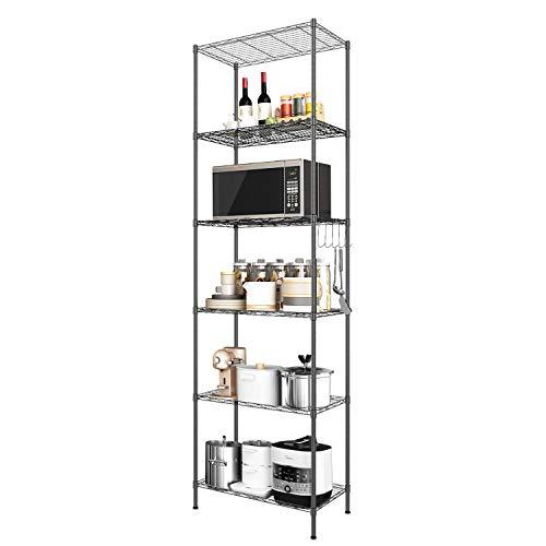 Devo Standregal mit 6 Ebenen, Metallregale Drahtregal, Freistehend, Aufbewahrungsregale, Organizer für Küche/Garage/Badezimmer, 56 x 31 x 160 cm (Black)