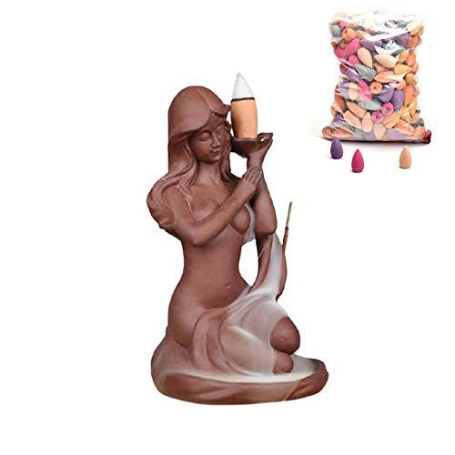 Portaincenso Bruciatore Incenso Oggettistica per la casa Scatola Beauty Maid Aromaterapia Cono in ceramica Porta incenso 20 coni di incenso