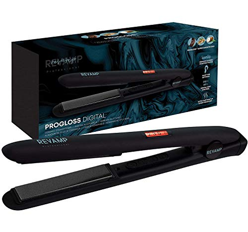 Revamp Progloss Digital Ceramic Hair Straighteners - Hot Iron for Salon Professional Straightening and Curling, Ideal for Long or Short Hair, Professional Temperature Control, 3 m Cable - Black
