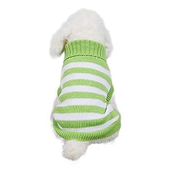 Wakkal Pull-Overs pour Petit Chien Manteau d'hiver en Coton Doux Rayé Chaud Chiot Chat Veste Vêtements pour Animaux Chihuahua Yorkshire