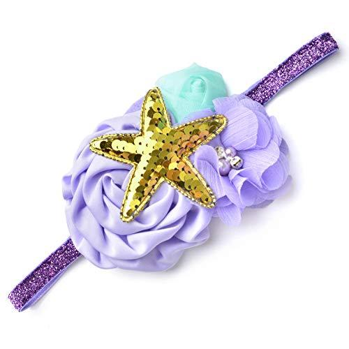 Bandeau Violet de Sirène pour Bébé Fille Coiffure Florale Elastique avec Etoile de Mer Brillant pour Fête Baptême Cadeau Anniversaire
