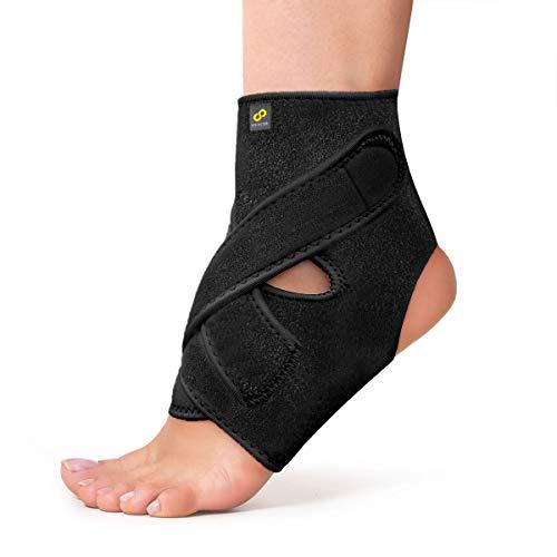BRACOO Fußbandage - Sprunggelenkbandage - Fußgelenkstütze mit Klettverschluss für Damen und Herren - FS10 (Large, black)