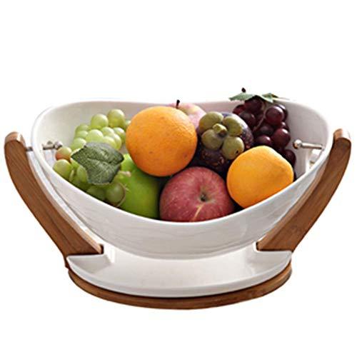 LLSS Cesta de Frutas de cerámica, frutero Creativo y Moderno para Sala de Estar, Plato de Dulces, Plato de Frutas secas, Cuenco de Regalo Que Puede escurrir.