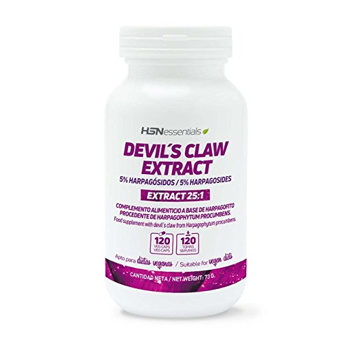 Harpagofito de HSN   400 mg   Extracto 25:1 de Raíz Harpagophytum Procumbens   Garra del Diablo   Antiinflamatorio Natural + Salud Articular   Vegano, Sin Gluten, Sin Lactosa, 120 Cápsulas Vegetales