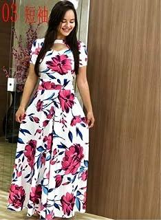 Elegant autumn Women's Dress 2020 Casual Bohemia Flower Print Maxi Dresses Fashion Hollow Out Tunic Dress Plus Size 5XL brand:TONWIN (Color : C short, Size : 5XL)