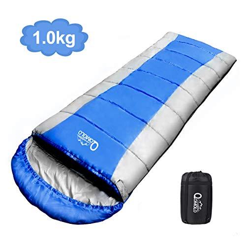 Qomolo Schlafsack, 1KG Outdoor Deckenschlafsack Tragbar Ultraleichter Wasserdichter und Super Warme Baumwollfüllung, für Erwachsene, Kinder, Jugendliche Camping, Wandern, Sommerlager (Blau und Grau)
