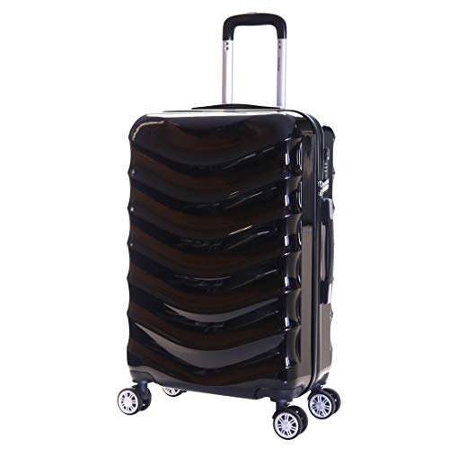 Karabar Hard Shell Medium Large Suitcase Luggage Bag 66 cm 3.4 kg 65 litres Polycarbonate PC with 4 Spinner Wheels and Integrated TSA Number Lock, Ripple Black