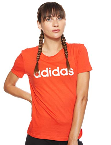 adidas Essentials Linear Slim tee T-Shirt (Short Sleeve), Mujer, Active Red/White, M 44-46