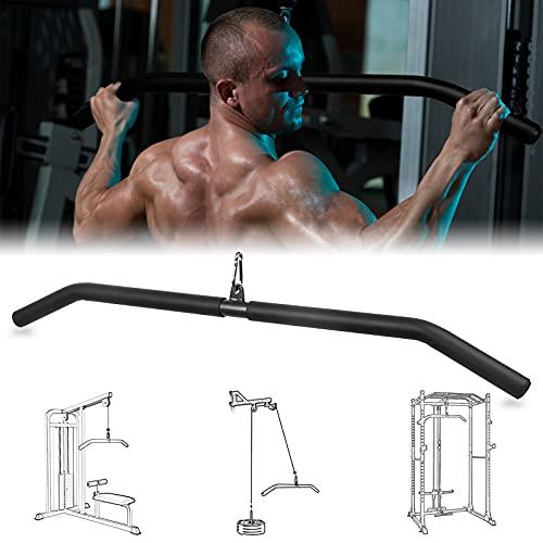 FASPUP Barra Tríceps Bíceps, 104CM Ensanchamiento y Engrosamiento Barra Polea Gimnasio con EVA Asas, Accesorio para Máquinas de Pulldown Gimnasio en Casa