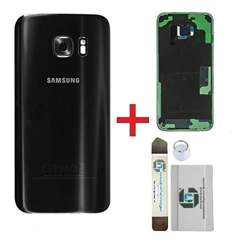 ITG® Premium Juego de Reparación de Cubierta de la Batería para Samsung Galaxy S7 Edge Negro (Black Onyx) – Samsung Panel Trasero Original para SM-G935F + 3M Adhesivo precortado + Herramientas