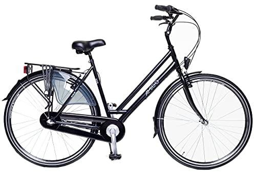 Amigo Bright - Cityräder für Damen - Damenfahrrad 28 Zoll - Geeignet ab 170-175 cm - Shimano 3 Gang-Schaltung - Citybike mit Handbremse, Beleuchtung und fahrradständer - Schwarz