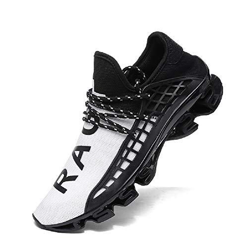 FUSHITON Sportschuhe Herren Laufschuhe Damen Turnschuhe Freizeitschuhe Atmungsaktiv Sneakers Mode Straßenlaufschuhe, Weiß, 42 EU