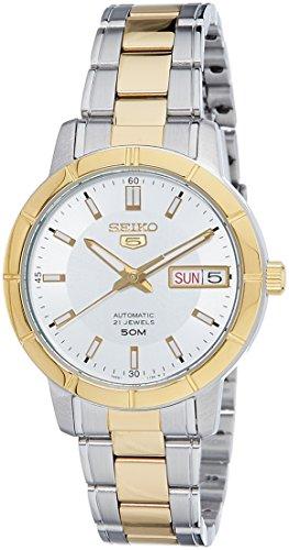 Seiko 5 Automatische Witte Wijzerplaat Twee Toon Zilver Goud RVS Dames Horloge SNK892K1