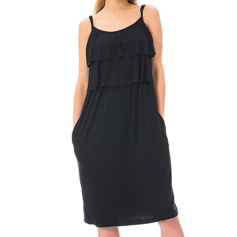 Maternity Dress,Women's Maternity Nursing Tank Dress Sleeveless Breastfeeding Dress with Pockets