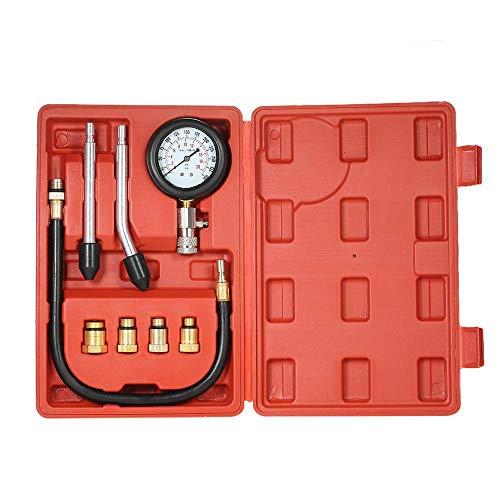 ThreeH 8 Pcs Motor Kompressionsprüfer Kompressionstester Benzinmotoren Druck-Prüfgerät Kompression prüfen meßen Meßgerät 0-300 psi MA02A