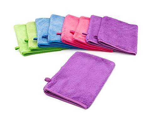 YSN Home Collection - Flauschige Mikrofaser Waschhandschuhe Waschlappen 16x21cm - 8 Stück - 4 Farben