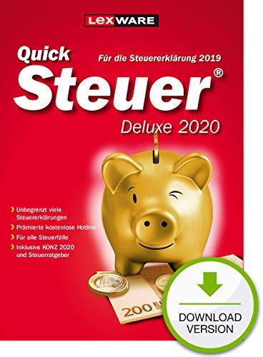 Lexware QuickSteuer Deluxe 2020 Download für das Steuerjahr 2019|Einfache und schnelle Steuer-Software für die private und gewerbliche Steuererklärung