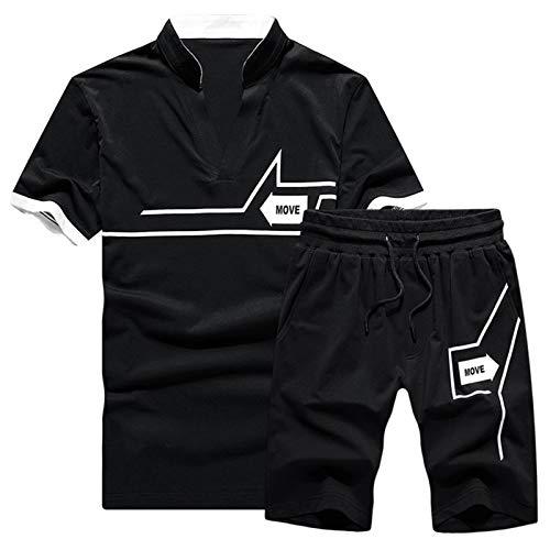 DZHTSWD MENS SPYTSWEART juego de chándal para el verano, traje deportivo de manga corta para hombre deportes de collar de pie deportivo camiseta cinco pantalones cortos cómodos y casuales traje de dos