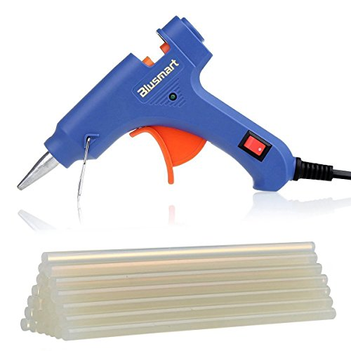 Mini Hot Glue Gun with 25 Pieces Melt Glue Sticks, 20 Watts Blue High Temperature Glue Gun for DIY Craft Projects and Repair Kit