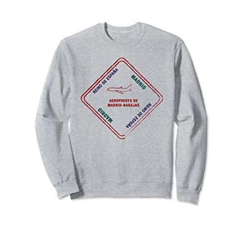 Madrid Spanien Reisepass Stempel Urlaub Reisen Souvenir Sweatshirt