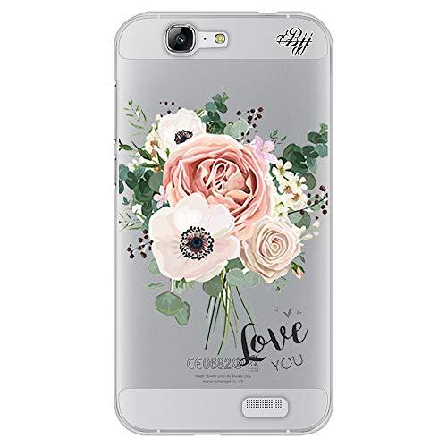BJJ SHOP Transparent Slim Hülle für [ Huawei Ascend G7 ], Klar Flexible Silikonhülle, Design : Blumenstrauß, Love You