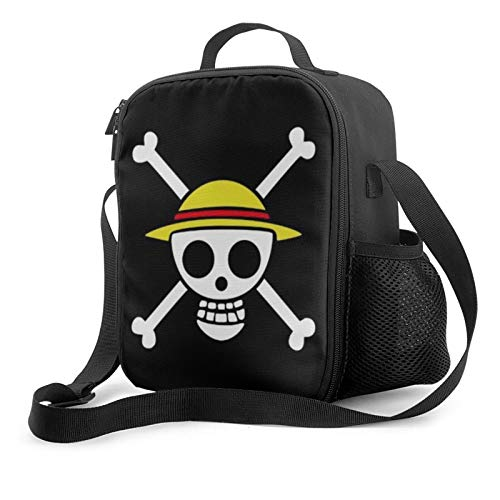WQOIEGE Anime One Piece Skull Lunch Box Insulated Lunch Bag,Cooler Tote Bag Leakproof Durable,Tough For Picnic,Office,Picnic,Beach.
