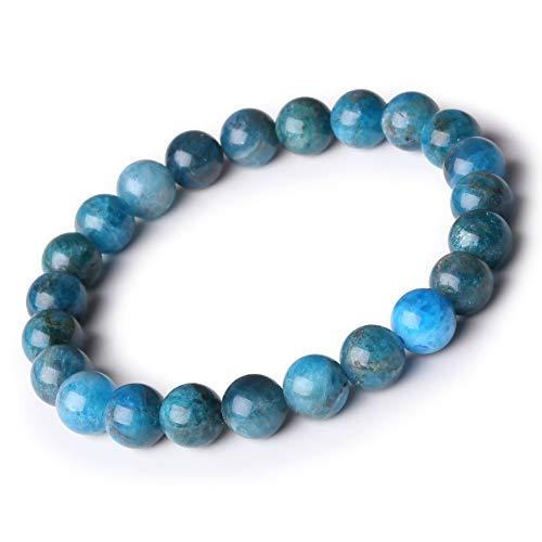 Bracelet bleue Bracelet ronde 8MM Cadeaux pour Saint Valentin Bracelet naturel Bracelet de perles Bracelet extensible Bracelet en pierre Bracelet yoga Bracelets homme et femme Cadeau fête des mères
