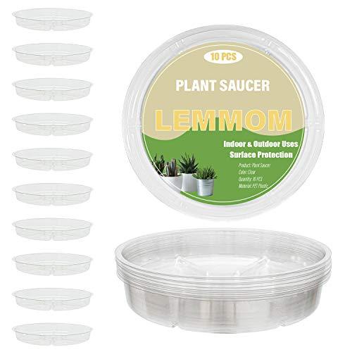 LEMMOM 10 platos de plástico transparente de 30,48 cm para interiores y exteriores, bandeja de goteo para macetas (30,48 cm)