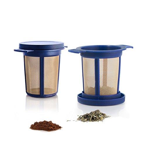 Finum BREWING BASKET (M) - Dauerfilter für Tee & Kaffee, Sieb, Teefilter, Tassen- & Becherfilter, Gewürzfilter, Tee-Filter, Kräutersieb, BPA-frei, rostfreies Edelstahlgewebe, Geschmacksneutral - Blau