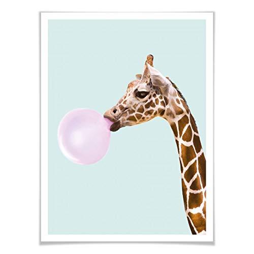 Poster Paul Fuentes - giraffe en haar kauwgom muurschildering dier kauwgummiblaas bubblegum illustratie grafisch ontwerp fotokunst kleurrijk zonder accessoires Wall-Art 80x100 cm multicolor