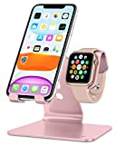 Apple Watch Stand, OMOTON 2 in 1 Universal Desktop Stand Holder for iPhone and Apple Watch Series 6/5/4/3/2/1 and Apple Watch SE (Both 38mm/40mm/42mm/44mm) (Rose Gold)