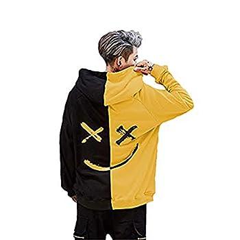 Abendedian Men s Casual Smile Face Colorblock Hoodies Print Long Sleeve Sweatshirt Fashion Hip-Hop Pullover Couple T-Shirt  Black-Yellow XXX-Large