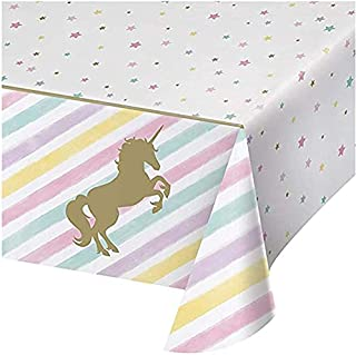 Unicorn Plastic Tablecloth Unicorn Birthday Party Supplies Disposable Table Covers Cute Unicorn Party Decorations for Girl...