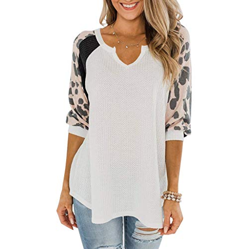 KESEELY Women Fashion Casual Leopard Print Serpentine Three Quarter Sleeve V-Neck Top White