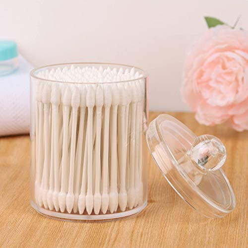Tbestmax Glass Qtip Holder Clear Cotton Swab Ball Pad Organizer 10 Oz Apothecary Jars with Plastic Lids for Bathroom 3 Pack
