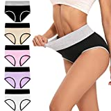 Womens Underwear,High Waist C Section Cotton Panties,Soft Hipster Briefs 5 Pack (Multicoloured, Large)