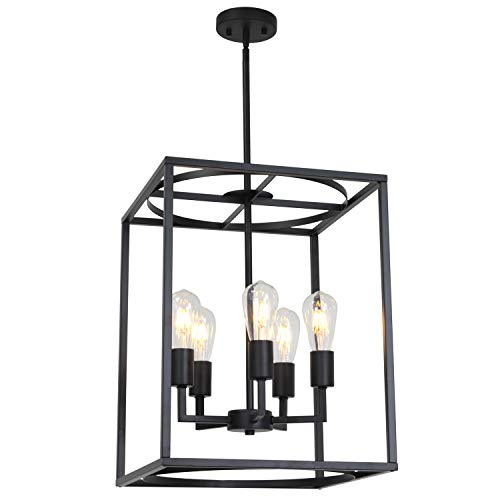 BONLICHT 5 Light Large Farmhouse Chandelier Rustic Dining Room Lighting Fixtures Hanging,Black Foyer Square Cage Pendant Lighting Vintage Industrial Kitchen Island Ceiling Lamp with Metal Art Shade