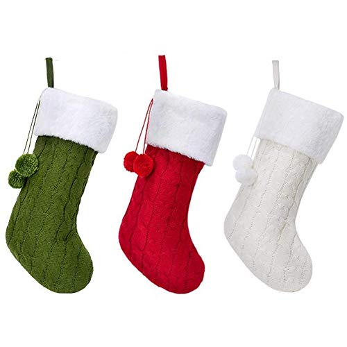 Kuinayouyi Medias de Navidad de punto de cable, felpa de piel sintética de punto de calcetín de Navidad para decoraciones de vacaciones familiares
