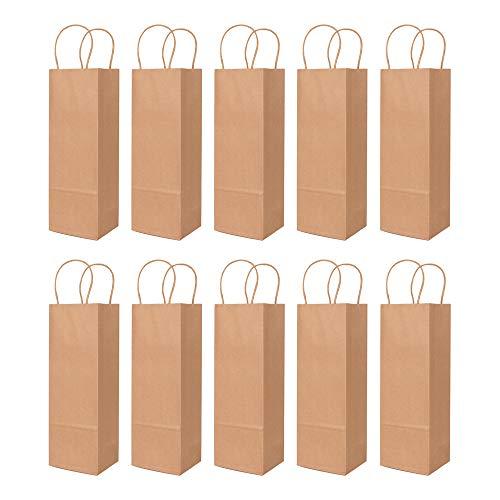 ewtshop® Flaschentüten, 10er Set aus stabilem Kraftpapier, Geschenktüten, Weinflaschentüten