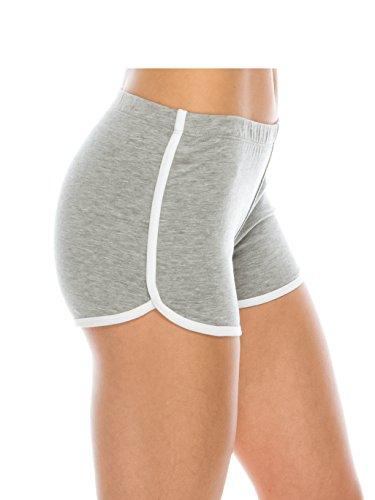 EttelLut Booty Fold Over/Regular Shorts Dance Yoga Sexy Exercise Dolphin Shorts (Large, Heather Gray)