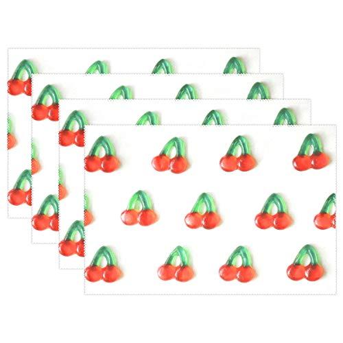 REFFW Cerise De Bonbons Rose 12x18 Pouces 6 Pièces Sirène Résistant Napperons Cuisine Maison Chaleur Durable Table Tapis Non Slip pour Table À Manger