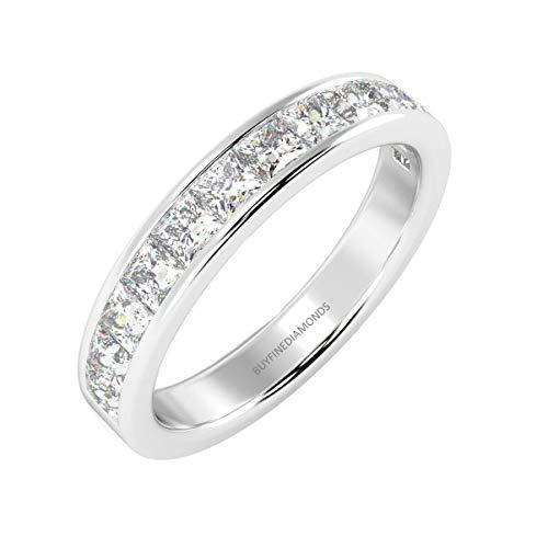 1.00 Ct Princess Diamond Half Eternity Ring, White Gold Size L